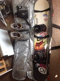Palmer 161mm twin directional snowboard and full kit
