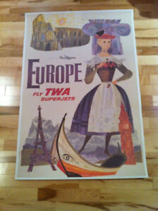 Original Vintage Poster Fly TWA to Europe by David Klein c1960