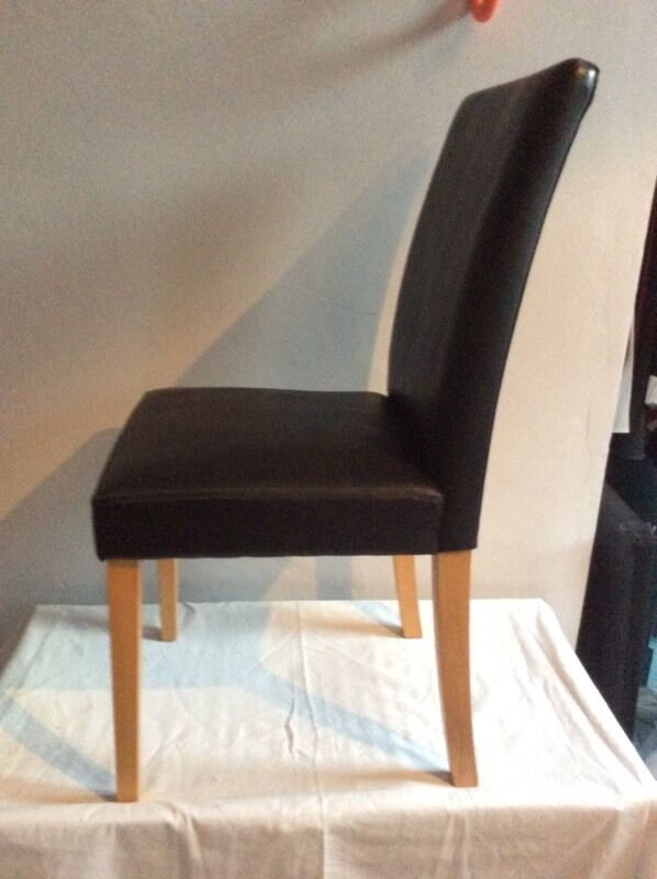 Next Dalton Dining Chairs Oak And Black Leather Effect Vgc