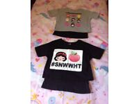 Cool Design Girls Double Layer T shirts X 2