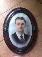 Antique Oval Picture and Frame