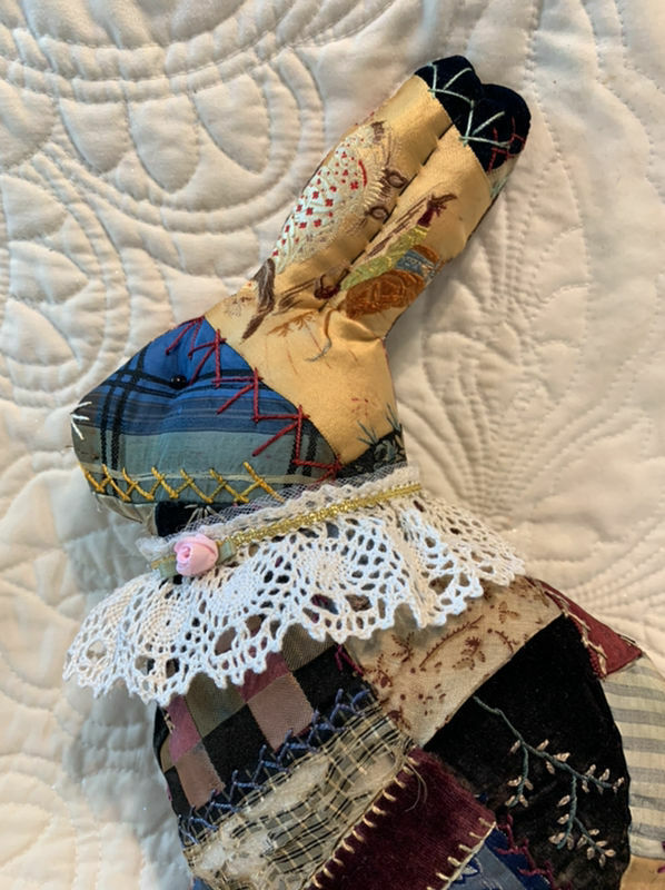 Primitive Handmade 1870 Satin Crazy Quilt Bunny Cluny Lace  Scupltured Ears