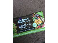 """2 x entrance into the BBC good food show gardeners world live tickets Birmingham ANY DAY"