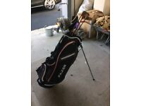 Full set of left handed golf clubs and new stand bag