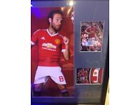 Manchester United Juan mata autograph and relic cards framed and mounted