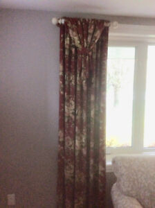 Lined Curtain Panels and off-white curtain rods