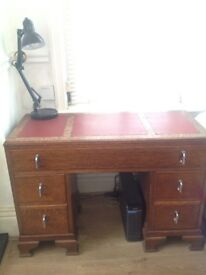 Antique vintage oak desk.