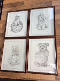 4 cute framed puppy & kitten prints by C Varley