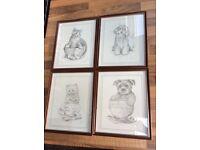 4 cute framed puppy & kitten prints by C Varley