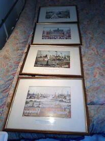 Set of 4 Framed L S Lowry Prints