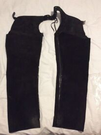 Black suede full chaps.