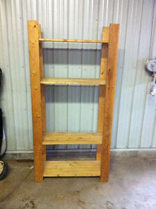 "Wooden storage shelves (with that ""rustic"" look!)"