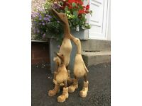 Families of Hand Carved Wooden Ducks in Boots