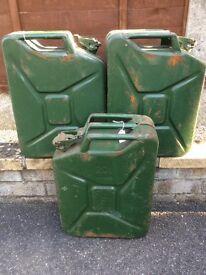 3 twenty litre jerry cans.