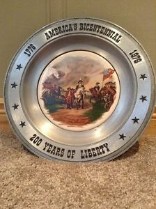 1976 Pewter American Bicentennial commemorative plate
