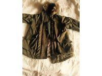 Hooded fur lined girls jacket olive green 152 cm