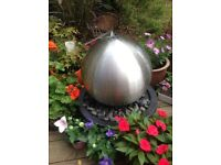 45cm brushed stainless steel sphere water feature