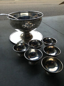 Silver Fruit Serving Bowl with six Nappies