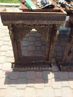 Indian antique jaroka - beautiful copper embossed frame