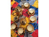 Vintage Bareuther, Bavaria, gold and white porcelain coffee set.