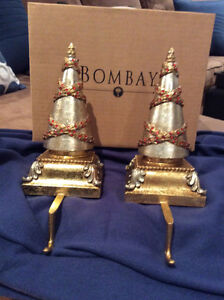 2 solid Christmas Tree Stocking Holders from Bombay Co.