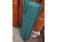 4m roll of 1m high green artificial bamboo cane screeninf