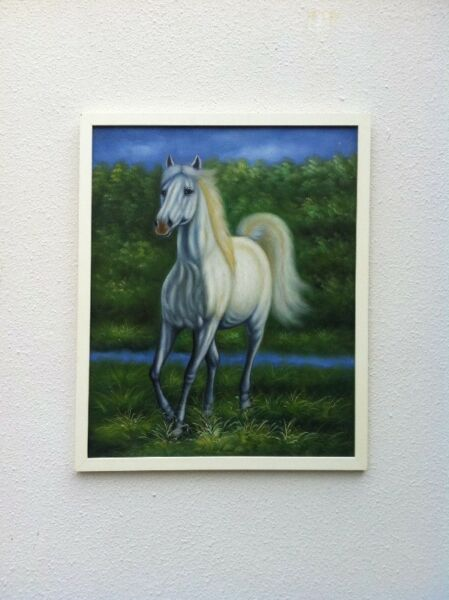 Horse canvas painting 65 x 53cm.  In good working condition.