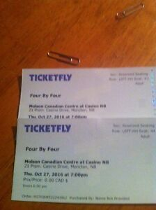 2. Concert tickets for four by four