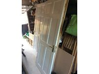 Solid pine panelled interior doors painted white x 3