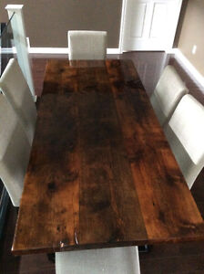 Reclaimed Rustic Barn Board Harvest Table with Chairs