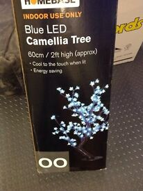 Blue LED camellia tree from home base