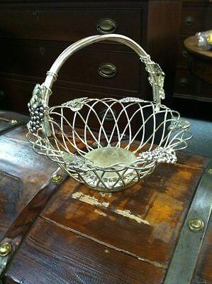 Vintage Godinger Silver Art Grape Fruit Basket w Handle-Silverplate-Wedding