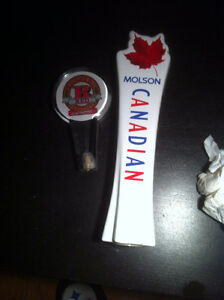 New Ceramic Molson Canadian beer Tap & used Rickards Red $40