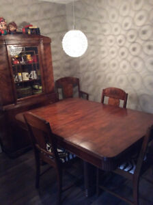Antique Walnut Dining Set China Cabinet Included
