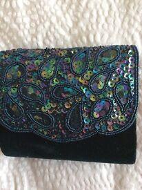 Evening bag. Black velvet with sequin and bead detail. New HOF