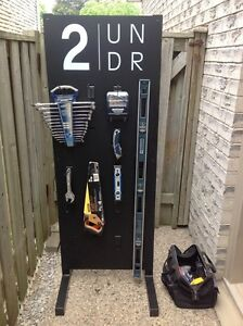 Rack for garage or shed to hang tools etc on