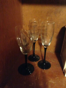 3 Wine glasses with black amethyst stems