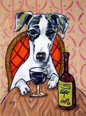 - Whippet dog wine 8x10  artist prints animals impressionism gift new