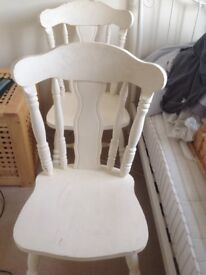 Two painted heavy pine chairs