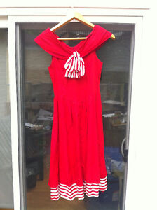VINTAGE HOT RED DRESS FOR SUMMER GARDEN PARTIES, WEDDINGS, TEAS
