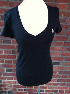 Ralph Lauren Black Cotton V-Neck T-Shirt Size Medium M