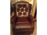Brown leather motor rising chair
