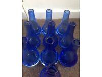 10 blue glass table vases