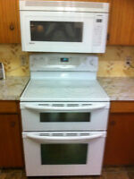 White glass top stove with double oven
