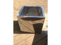 Mirrored 40cm cube stainless steel planter STUNNING