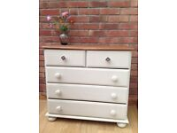 SOLD Modern Pine Chest of Drawers painted in cream