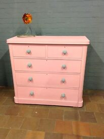 Victorian chest of drawers Dusty Pink