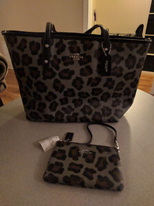 Coach ocelot city tote and mini bag set