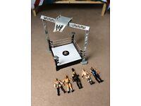 WWE wrestling ring & figures