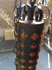 Mid Century Wrought Iron Amber Bubble Glass Swag Lamp 1960 Peterborough Peterborough Area image 9